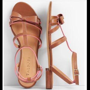 Talbots Keri Bow Vachetta Leather Sandals💕🎀